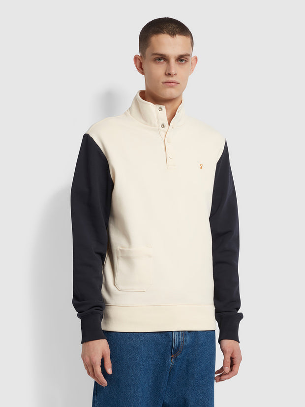Scorsese Cotton Colour Block Funnel Neck Sweatshirt In Cream