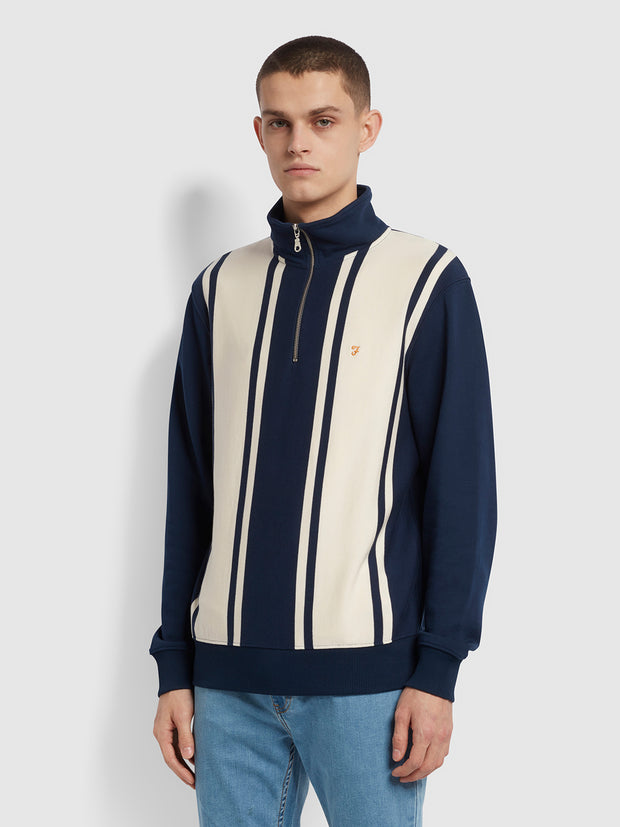 California Cotton Striped Quarter Zip Sweatshirt In Yale