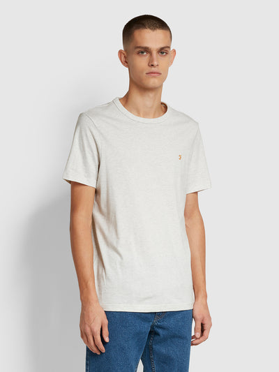 Danny Slim Fit Organic Cotton T-Shirt In Chalk Marl