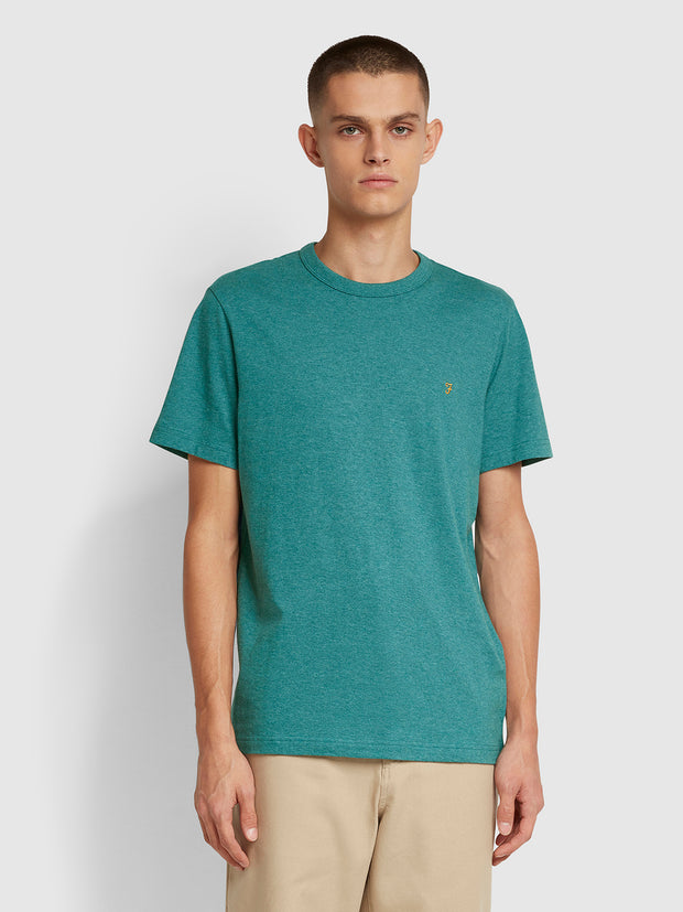 Danny Slim Fit Organic Cotton T-Shirt In Rich Turquoise