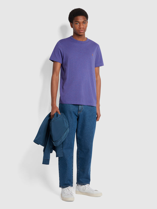 Danny Slim Fit Organic Cotton T-Shirt In Ultraviolet Marl