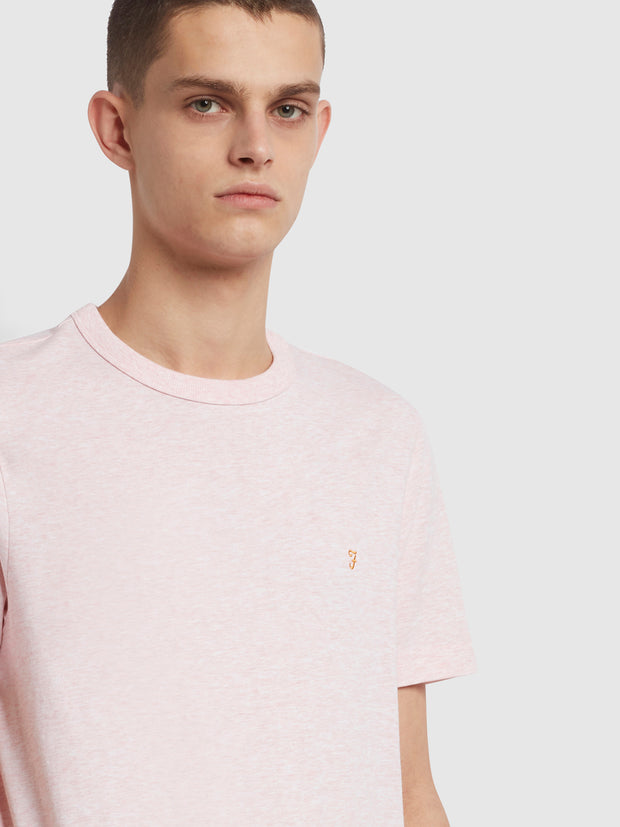 Danny Slim Fit Organic Cotton T-Shirt In Clyde Pink Marl