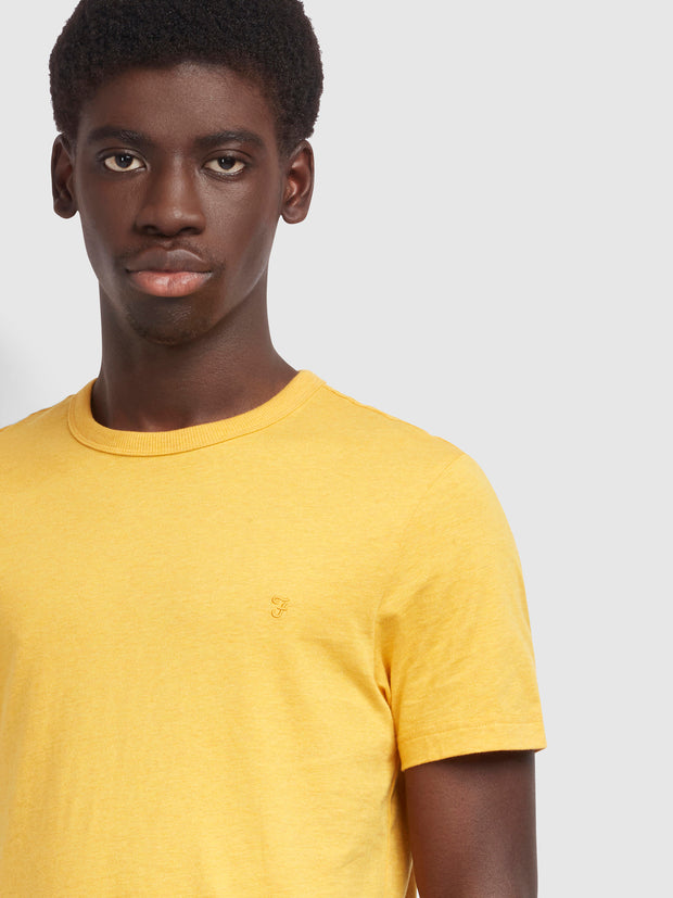 Danny Slim Fit Organic Cotton T-Shirt In Dark Mustard Marl