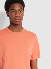 Danny Slim Fit Organic Cotton T-Shirt In Coral