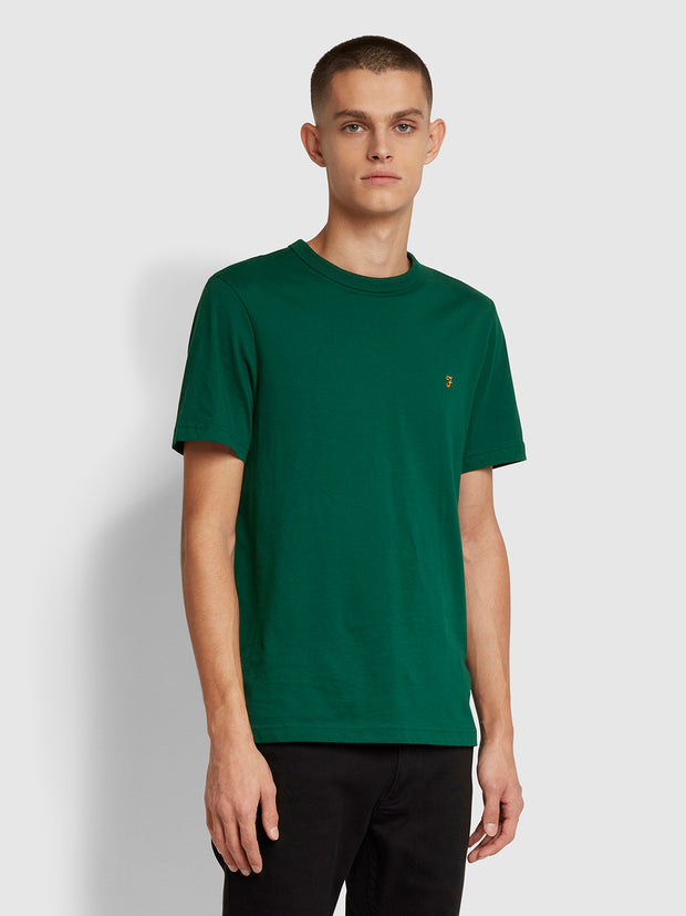 Danny Slim Fit Organic Cotton T-Shirt In Emerald Green