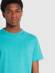 Danny Slim Fit Organic Cotton T-Shirt In Turquoise Marl