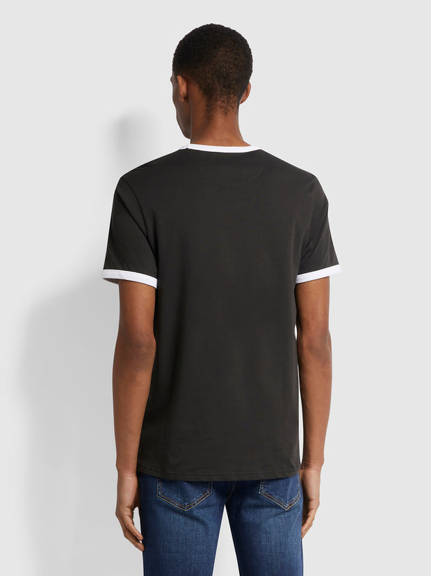 Groves Slim Fit Organic Cotton Ringer T-Shirt In Black