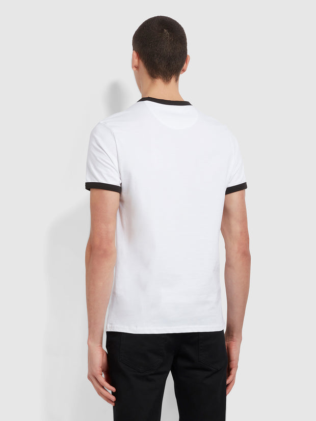 Groves Slim Fit Organic Cotton Ringer T-Shirt In White