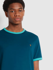 Groves Slim Fit Organic Cotton Ringer T-Shirt In Teal
