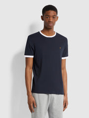 Groves Slim Fit Organic Cotton Ringer T-Shirt In True Navy