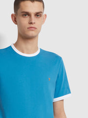 Groves Slim Fit Organic Cotton Ringer T-Shirt In Maritime Blue