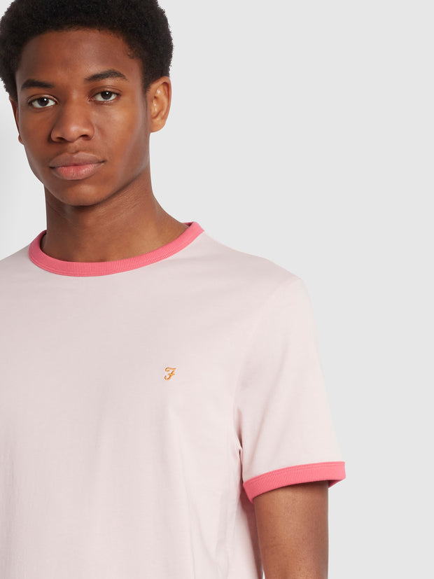 Groves Slim Fit Organic Cotton Ringer T-Shirt In Cool Pink