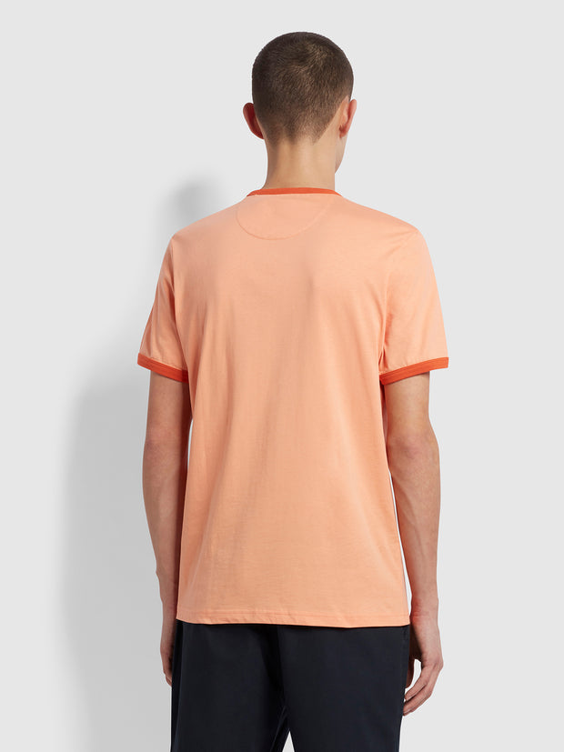 Groves Slim Fit Organic Cotton Ringer T-Shirt In Peach Solstice