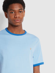 Groves Slim Fit Organic Cotton Ringer T-Shirt In Ocean Blue