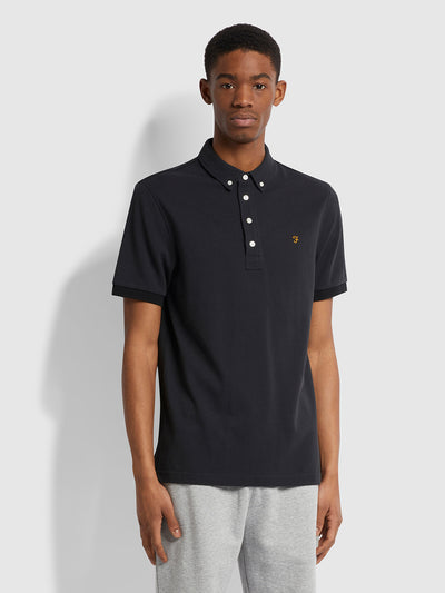 Ricky Slim Fit Organic Cotton Polo Shirt In Black