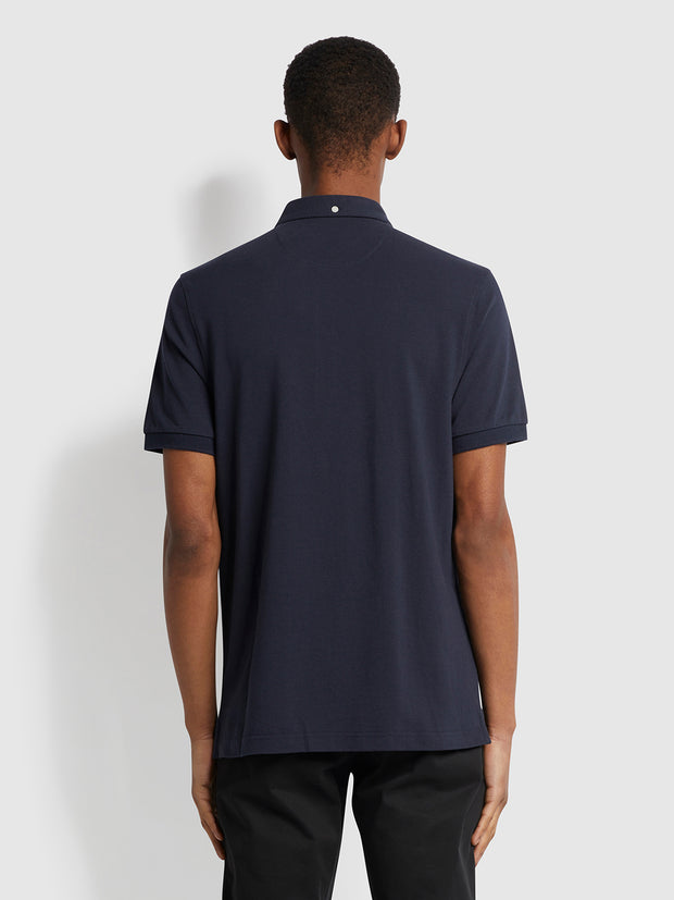 Ricky Slim Fit Organic Cotton Polo Shirt In True Navy