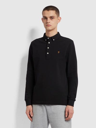 Ricky Slim Fit Long Sleeve Organic Cotton Polo Shirt In Black