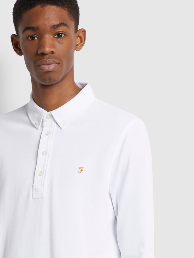 Ricky Slim Fit Long Sleeve Organic Cotton Polo Shirt In White