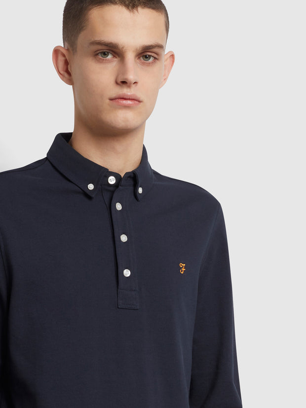 Ricky Slim Fit Long Sleeve Organic Cotton Polo Shirt In True Navy