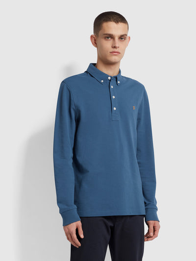 Ricky Slim Fit Long Sleeve Organic Cotton Polo Shirt In Cold Metal