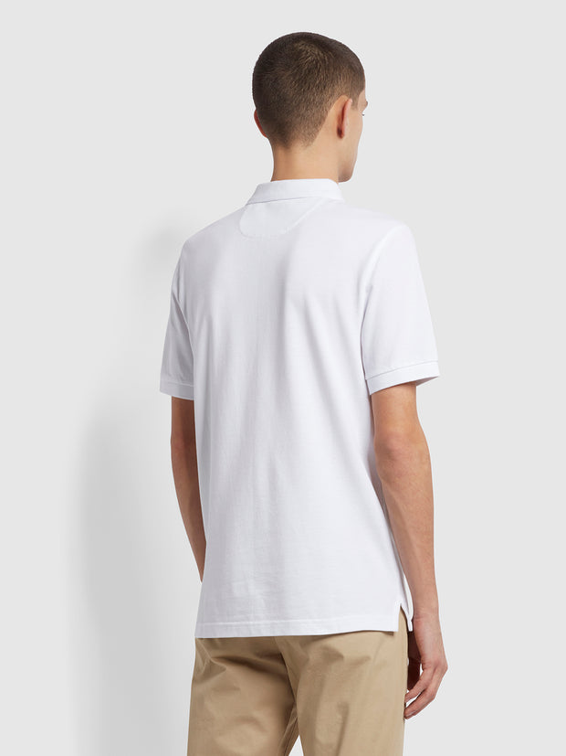 Blanes Slim Fit Organic Cotton Polo Shirt In White