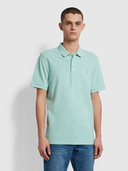 Blanes Slim Fit Organic Cotton Polo Shirt In Green Crest Marl