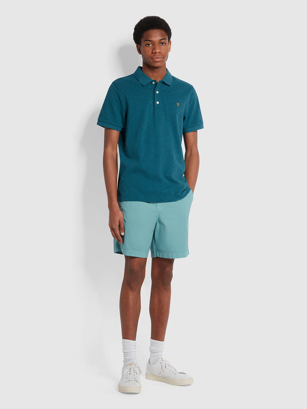 Blanes Slim Fit Organic Cotton Polo Shirt In Teal Marl
