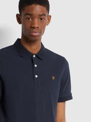 Blanes Slim Fit Organic Cotton Polo Shirt In True Navy