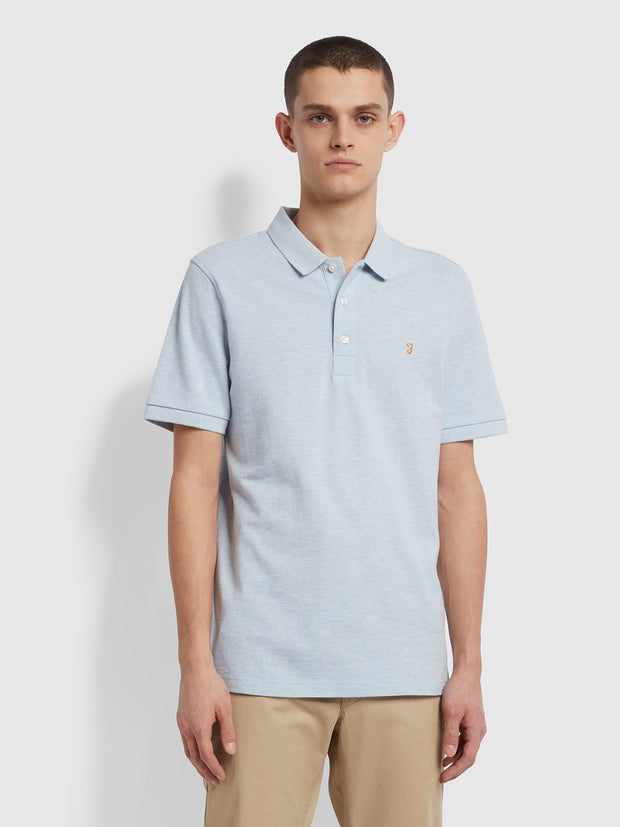 Blanes Slim Fit Organic Cotton Polo Shirt In Blue Nickle Marl