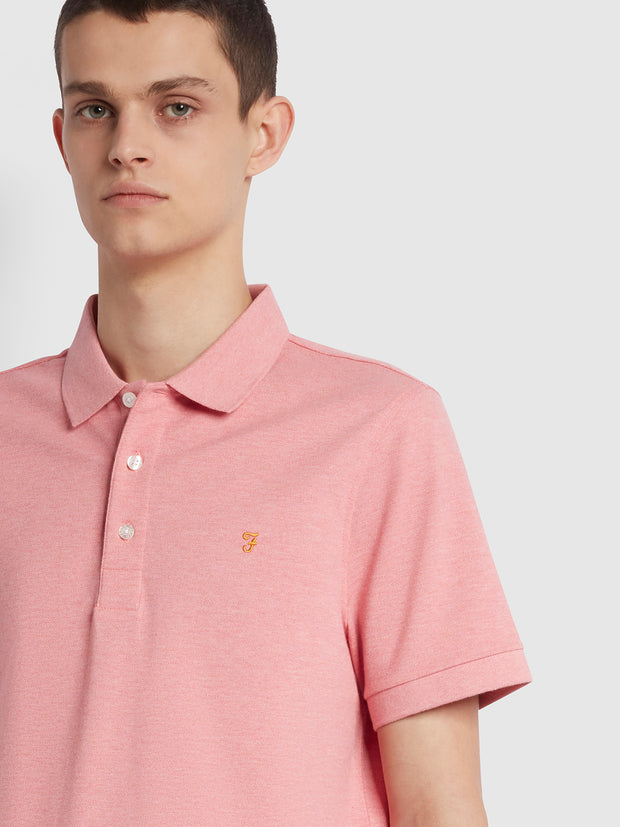Blanes Slim Fit Organic Cotton Polo Shirt In Palisade Pink Marl