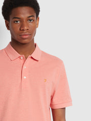 Blanes Slim Fit Organic Cotton Polo Shirt In Coral Marl