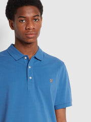 Blanes Slim Fit Organic Cotton Polo Shirt In Blue Mist