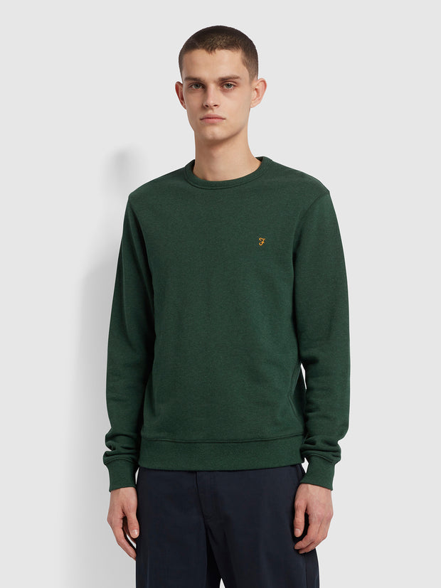 Tim Organic Cotton Crew Neck Sweatshirt In Cedar Green Marl