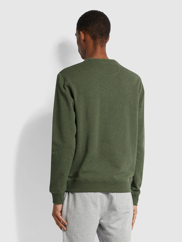 Tim Organic Cotton Crew Neck Sweatshirt In Evergreen Marl