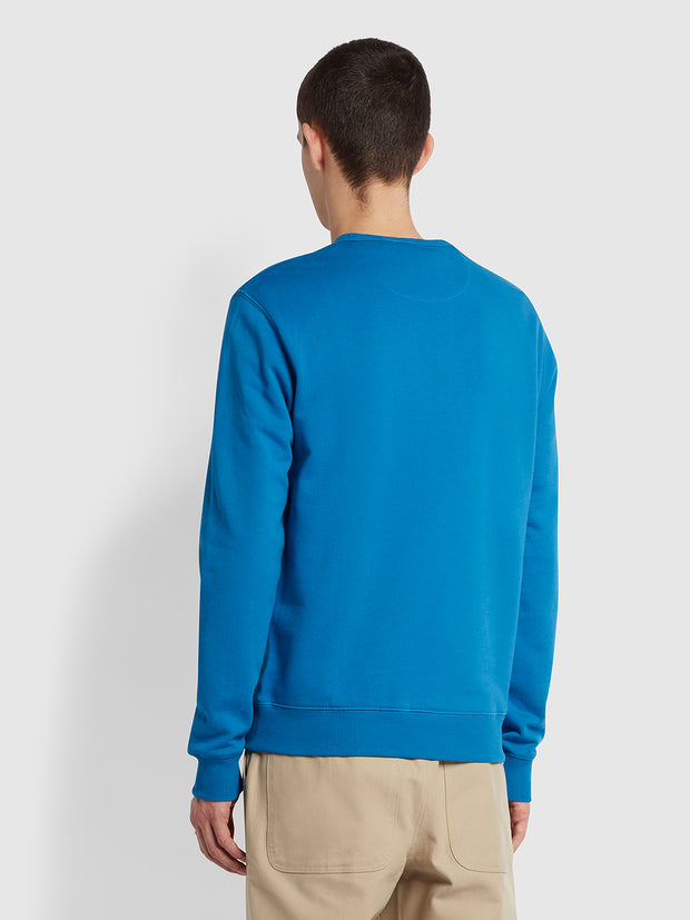 Tim Organic Cotton Crew Neck Sweatshirt In Maritime Blue
