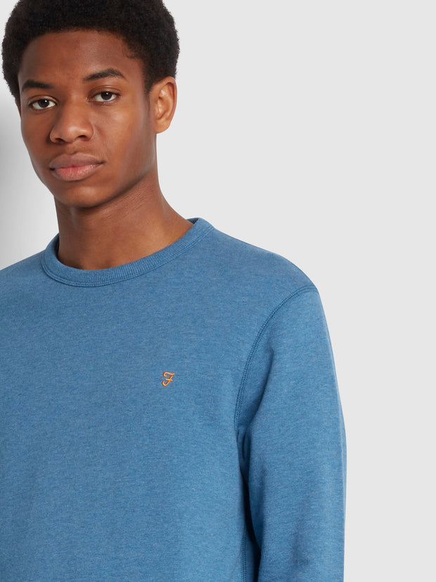 Tim Organic Cotton Crew Neck Sweatshirt In Blue Mist Marl