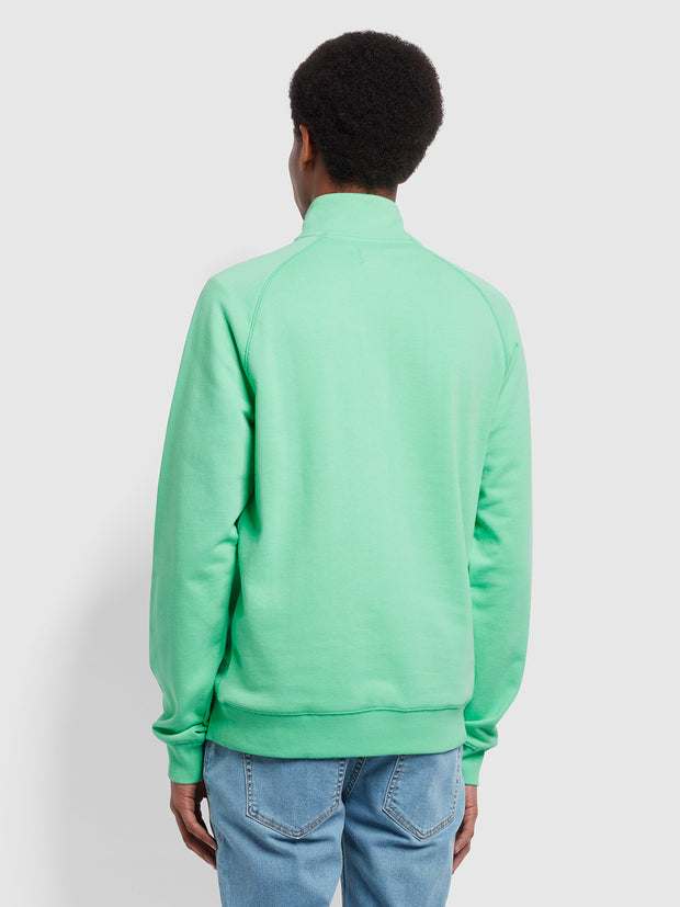 Jim Organic Cotton Quarter Zip Sweatshirt In Spring Green