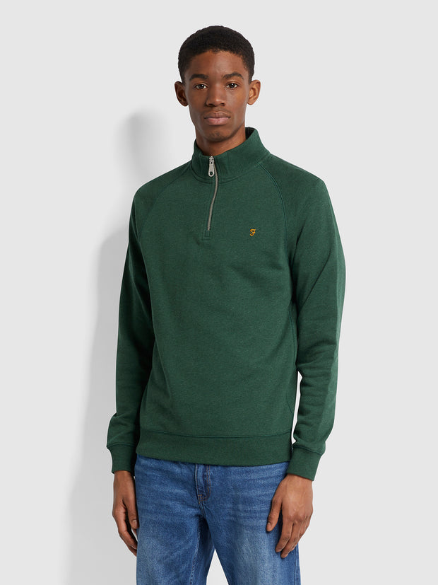 Jim Organic Cotton Quarter Zip Sweatshirt In Cedar Green Marl