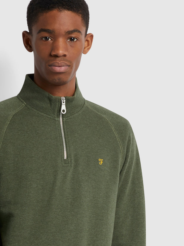 Jim Organic Cotton Quarter Zip Sweatshirt In Evergreen Marl
