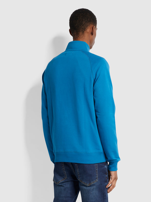 Jim Organic Cotton Quarter Zip Sweatshirt In Maritime Blue
