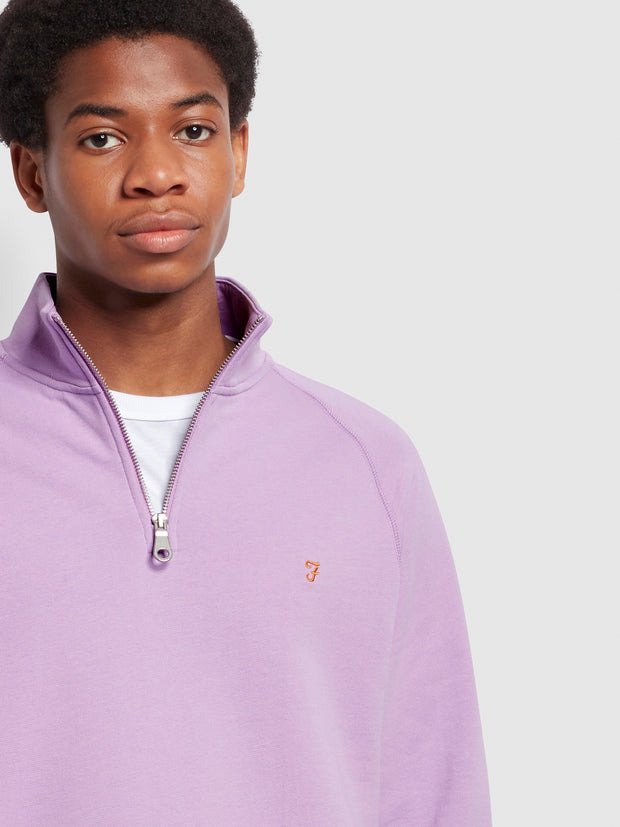 Jim Organic Cotton Quarter Zip Sweatshirt In Pink Lavender