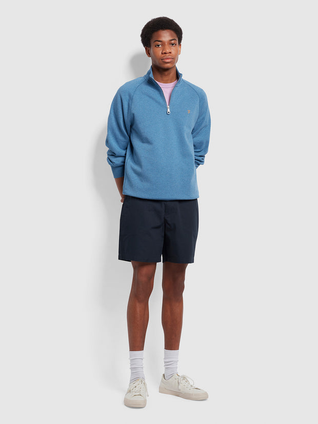 Jim Organic Cotton Quarter Zip Sweatshirt In Blue Mist Marl