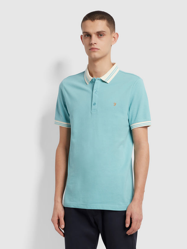 Stanton Slim Fit Tipped Organic Cotton Polo Shirt In Reef Green