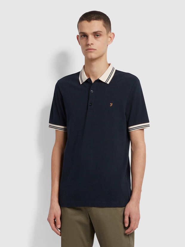 Stanton Slim Fit Tipped Organic Cotton Polo Shirt In True Navy