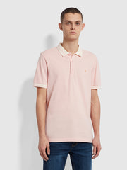 Stanton Slim Fit Tipped Organic Cotton Polo Shirt In Clyde Pink