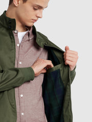 Hardy Organic Cotton Harrington Jacket In Vintage Green