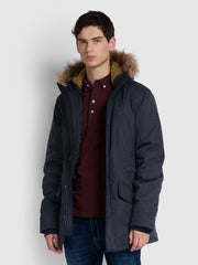 BOLTON FAUX FUR HOODED PARKA IN TRUE NAVY