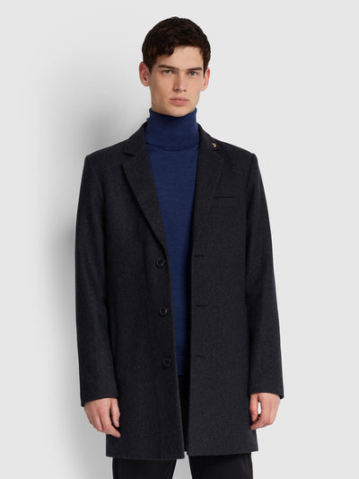 RUXTON WOOL BLEND OVERCOAT IN GREY MARL