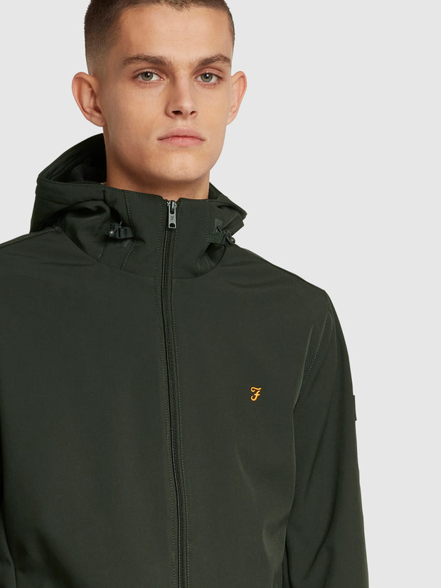 Bective Soft Shell Coat In Archive Green Hopsack