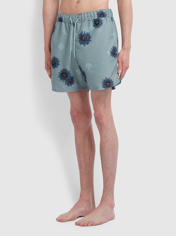 Colbert Floral Print Swim Shorts In Green Mist
